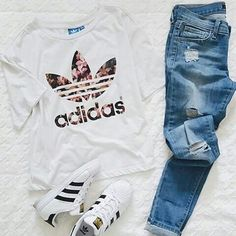 Image via We Heart It #adidas #black #fashion #heart #jeans #style #white #outfut