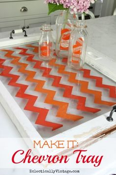 HHow to Paint Chevron -on old window or piece of glass - the easy way (no special stencils needed)!  eclecticallyvintage.com
