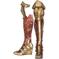 Wonder Woman Boot ($143) ❤ liked on Polyvore featuring costumes, shoes, costume, halloween costumes, role play costumes, cosplay halloween costumes, adult halloween costumes, super hero costumes and adult costumes