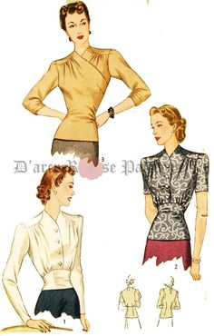 Simplicity 4186 Misses' Vintage Early 1940s Set of Blouses Sewing Pattern Sz 18