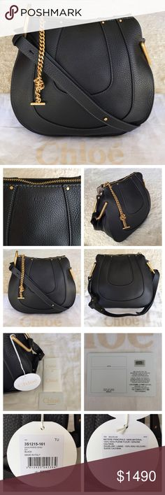 """BRAND NEW CHLOÉ HAYLEY CALF LEATHER HOBO BAG Authentic. Made in Italy. Color: Black. Brand new with tags and authentic certificate. This bag has dust bag and the care card. Black Chloe soft, horseshoe-paneled calfskin hobo bag. Golden hardware. Adjustable shoulder strap with chain insets, 13""""-17"""" drop. Zip top closure. Interior, suede lining; center zip compartment; one slip pocket. 10""""H x 12""""W x 4.5""""D. """"Hayley"""" is made in Italy. Chloe Bags Hobos"""