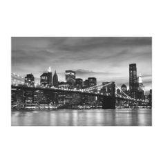 Brooklyn Bridge At Night, New York City Canvas Print Gifts