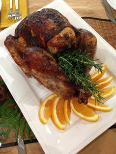 Our juicy, moist Thanksgiving turkey is ready to serve! This marinade is so easy and great. I've been using it for years!