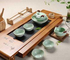 teapot + pot pad + tea pitcher +4 cups Chinese Porcelain Celadon Ru Kiln tea set