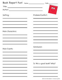 primary book report template