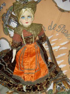 Labeled France Bretonne Antique Art Deco Silk Face Boudoir Bed Doll Bisque Arms | eBay