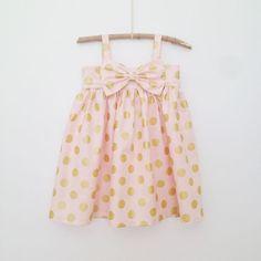 Gold dot Party Dress.  Pink. Size 6. Tessa's Trunk.