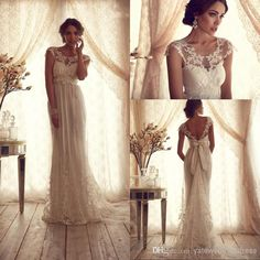 2014 Vintage Sheer Wedding Dresses Backless Lace Beach A-Line Wedding Dresses | Buy Wholesale On Line Direct from China