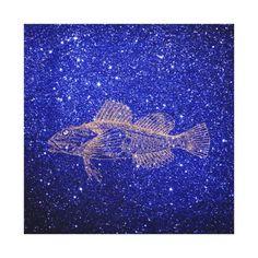 Deep Sea Fish Ocean Life Pink Rose Gold Copper Canvas Print - gold gifts golden customize diy