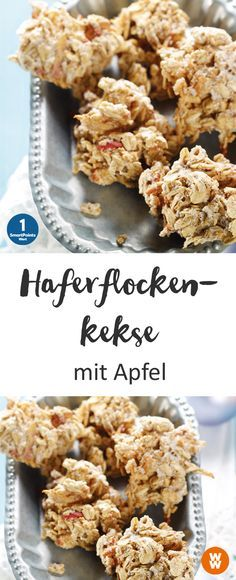 Leckere Haferflockenkekse mit Apfel, schnell gebacken, 1 SmartPoint/Portion, 1 Portion = 2 Kekse, Plätzchen, Gebäck   Weight Watchers