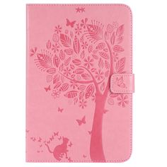 Cat Tree Pattern PU Leather Shell Tablet Case For Samsung Galaxy Tab A SM-T350 SM-T355 8.0 Inch Smart Flip Stand Cover+Pen Pink Leather, Leather Case, Butterfly Tree, Samsung Cases, Samsung Galaxy, Tree Patterns, Ipad Mini, Cover, Cat Tree