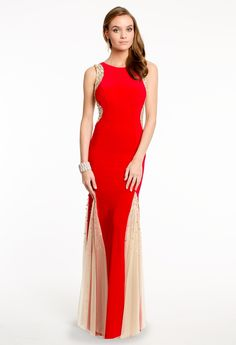 Beaded Illusion Side and Godet Dress from Camille La Vie and Group USA