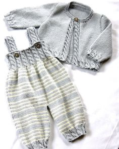 Baby overalls with detailed cabled bodice and matching sweater $5.00