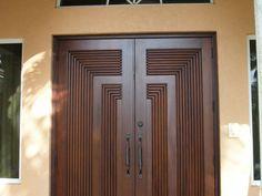 Wooden Double Doors, Wooden Front Door Design, Wooden Front Doors, Wood Doors, Gate Wall Design, Home Door Design, Steel Gate Design, Modern Entrance Door, Modern Exterior Doors