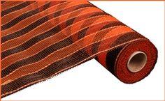 Orange / Black Stripe Woven Ribbon