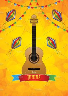 Festa Junina poster with paper lanterns and paper garlands on yellow background, vector illustration Included files: . Vector Illustrations, Graphic Illustration, Yellow Background, Paper Lanterns, Creative, Party, Paper Lantern