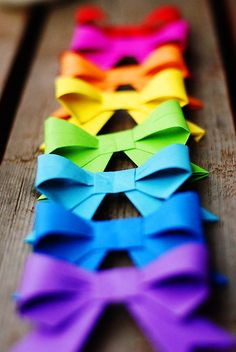 rainbow paper bows
