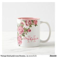 Vintage blush pink roses Peonies name monogram Two-Tone Coffee Mug - girly gift gifts ideas cyo diy special unique