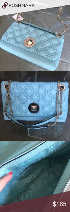 """🌟INCREDIBLE SALE!!🌟1 HOUR ONLY!🌟Kate Spade NWT Gorgeous Tiffany blue colored Kate Spade Astor Court Cynthia bag. Brand new with tags!!Quilted pebbled leather, 14 karat gold plated hardware, flap top with turn lock closure, convertible gold chain strap that can be worn crossbody or tucked under arm. Drop for chain is 9"""" if doubled up or longer for single strap. Interior lined with signature KS logo fabric. 2 slip pockets, one zip pocket, and one pocket for smartphone. Measurements: 7.25""""h…"""