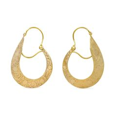 A pair of antique gold earrings of tapered hoop design with chased decoration, in 14k.