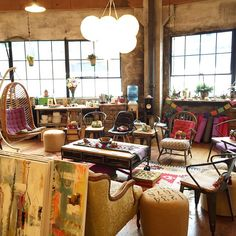 #FloraBowley studio in Portland, Oregon. A brightly colored, comfortable atmosphere to gather, inspire, share, and...paint.  #braveintuitivepainting