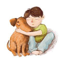 Нежность какая-то на ночь глядя) Мальчик и пёс  #собака #пес #мальчик #иллюстрация #детскаяиллюстрация #скетч #диджитал #нежность #dog #boy #digitalart #digital #sketch #illustration #childrenillustration