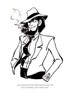 "fedemexyart: ""Just because Daisuke Jigen is damn cool! U_U —- Perché Daisuke Jigen è dannatamente figo! U_U "" Really love this lineart!"