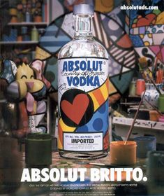 Britto original handpainted & signed absolut promotional bottle