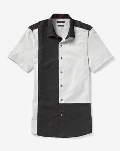 Chemise étroite blocs de couleur à manches courtes Color Blocking, Colour Block, Chef Jackets, Button Down Shirt, Men Casual, Slim, Mens Fashion, Summer 2015, Fitness
