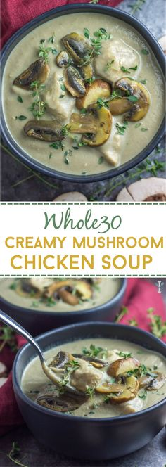 This creamy, dairy free mushroom soup with chicken is whole30 compliant. Dinner in under 30 minutes
