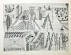 1958 Print Paul Klee Beride City Water Cityscape Abstract Line Drawing - Period Paper
