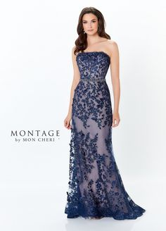 Montage by Mon Cheri - 118961 Strapless Lace Sheath Gown – Couture Candy Shrug For Dresses, Mob Dresses, Bridal Dresses, Fashion Dresses, Modest Dresses, Mother Of Groom Dresses, Mothers Dresses, Gowns For Mother Of The Bride, Montage By Mon Cheri