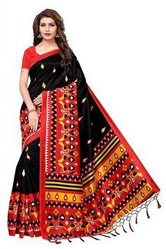 954459c78 Mysore Silk Black Red Saree With Blouse Piece For Women – Anni Designer