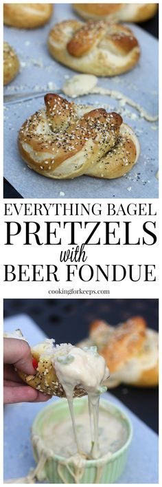 Everything Bagel Soft Pretzels with Hatch Pepper, Pale Ale and Monterey Jack Fondue