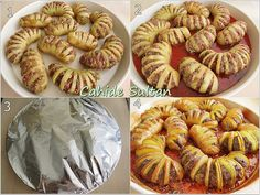 """Meatball Fan Potatoes- Köfteli Yelpaze Patates """"Indeed, the Messenger of Allah is a good example for you, those who hope for Allah and the Last Day, and those who chant Allah. Black Bean Hummus, Turkish Kitchen, Oven Dishes, Oriental Food, Food Decoration, Arabic Food, Turkish Recipes, Sausage, Food And Drink"""