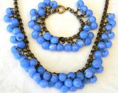 Vintage 1940s Frank Hess Miriam Haskell Czech Style Light Sapphire Glass Bead Necklace Bracelet Demi Parure