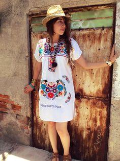 Vestido mini etno hippy Talla XS S M L hermoso por PureLoveMex