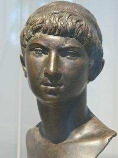 Roman bronze portrait head of Ptolemy of Mauretania, the last Roman client King of Mauretania (r. 23–40 CE). He was the son of King Juba II  Queen Cleopatra Selene II of Mauretania. He assisted Roman forces in suppressing a Berber revolt in Numidia  Mauretania but was assassinated in 40 CE after arousing the jealousy of the Roman emperor Caligula. He was the last known living descendant of the famous Cleopatra VII of Egypt and of the Ptolemaic royal family.