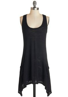 Swingy Fling Top - Knit, Black, Solid, Handkerchief, Pockets, Casual, Tank top (2 thick straps), Scoop