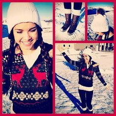 My snow day outfit! H hoodie + socks, Forever 21 sweater, Target hat, and All Saints boots! ❄❤❄❤❄