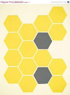 SALE 25% OFF Geometric Art, Collage Art Print, Giclee Print, Minimalist Decor, Abstract Art, Yellow and Grey - Yellow Honeycomb