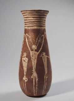 Jar-with-male-figures-Probably-late-Naqada-I-–-early-Naqada-II- (ca. 3700–3450 BC) Provenance: unknown; purchased in Luxor by Jean Capart, 1909