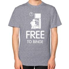 Free To Binge Men's T-shirt, American Apparel T-shirt, graphic and logo t shirt, funny tee, custom t shirt, Food tee (White Icon)