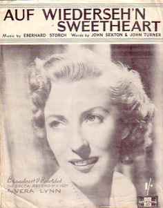Vera Lynn on cover of Auf Wiederseh'n Sweetheart Sheet Music for Piano & Voice