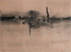 Vasudeo Santu Gaitonde. Untitled, 1962. Ink and watercolour on paper, 21 6/8 x 30 in (55.9 x 76.2 cm). Collection of Kiran Nadar, New Delhi. © Solomon R. Guggenheim Foundation, New York. Photograph: Anil Rane.