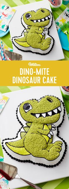 This prehistoric cake is one that will gown down in history as a family favorite! This Dino-Mite Dinosaur Cake is great for birthday parties of all ages and it using simple techniques making it great for beginner decorators! #wiltoncakes #dinocake #dinosaur #cake #cakes #cakeideas #inspiration #cakes #shapedpan #birthdaycake #birthdayparties #birthdaycake