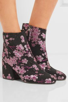 Heel measures approximately 75mm/ 3 inches Black, magenta and metallic-pink brocade Concealed zip fastening along side Imported