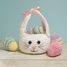 easter crochet patterns A darling little bunny basket to fill with Easter treats! This Easter bunny basket crochet pattern is quick and simple to work up and features long bunny Easter Egg Pattern, Easter Crochet Patterns, Crochet Bunny, Crochet Crafts, Crochet Toys, Crochet Projects, Free Crochet, Dishcloth Crochet, Crochet Baskets