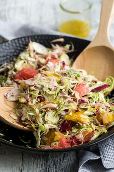 A lovely winter citrus salad to show case brussels sprouts and endives paired with the fresh taste of oranges and grapefruit! Grapefruit Recipes, Endive Recipes, Healthy Salad Recipes, Real Food Recipes, Vegetarian Recipes, Healthy Dinners, Healthy Tips, Shaved Brussel Sprouts, Brussel Sprout Salad