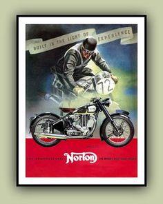 Motocicleta NORTON de los años 1950 Vintage publicidad cartel imprimir a todo Color